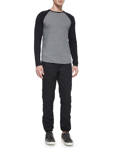 Feeder-Stripe Long-Sleeve Baseball Tee & Tech City Drawstring Jogger Pants