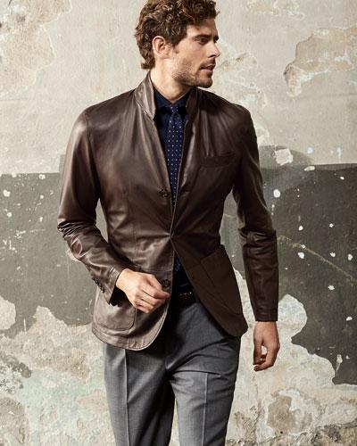 Brunello Cucinelli Leather Three-Button Blazer & Double-Pleated