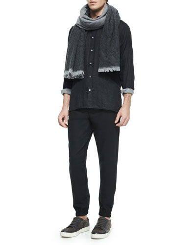 Degrade Wool Scarf, Double-Face Long-Sleeve Woven Shirt & Traveler Wool Jogger Pants