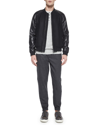 Leather-Sleeve Bomber Jacket, Cashmere Long-Sleeve Henley Tee & Traveler Wool Jogger Pants