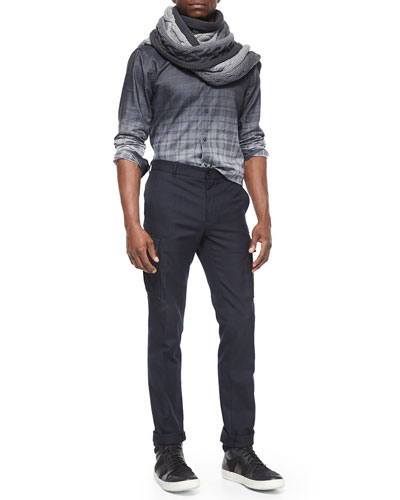 Oversized Dip-Dye Scarf, Degrade Plaid Jacquard Long-Sleeve Shirt & Military-Style Cargo Dress Pants