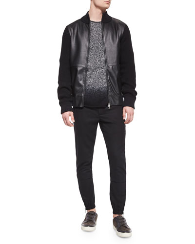 Leather Zip-Up Jacket with Wool Sleeves, Cashmere Marled Dip-Dyed Crewneck Sweater & Traveler Wool Jogger Pants