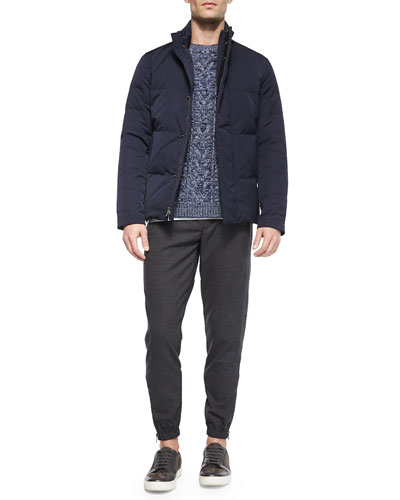 Quilted Full-Zip Jacket, Degrade Cable-Knit Crewneck Sweater & Traveler Wool Jogger Pants