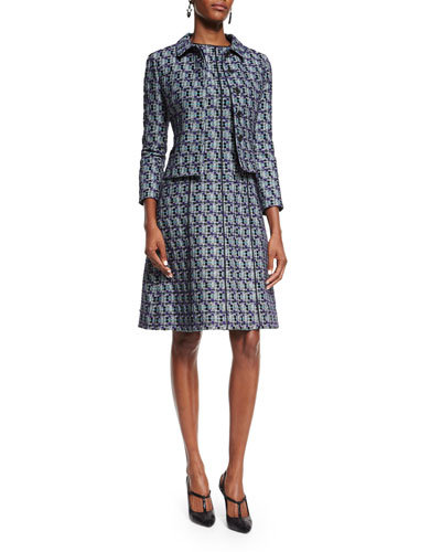 Multi-Print Tweed Jacket & Dress, Bright Navy
