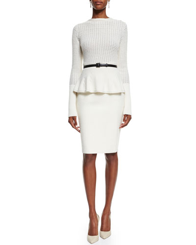 Waffle-Knit Peplum Sweater & Double-Faced Pencil Skirt