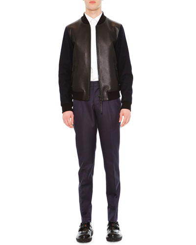 Two-Tone Combo Bomber Jacket, Solid Long-Sleeve Shirt & Slim-Fit Trousers