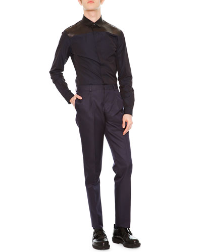 Dress Shirt w/ Leather Yoke & Slim-Fit Trousers