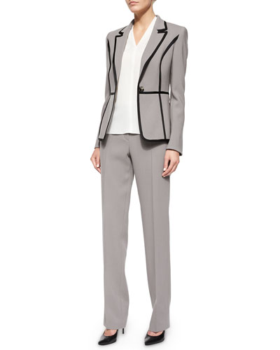 One-Button Two-Tone Blazer, V-Neck Pleat-Detail Silk Top & Tovah Classic Straight Leg Trousers