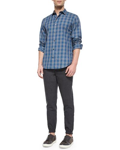 Distorted Plaid Long-Sleeve Shirt & Traveler Wool Jogger Pants