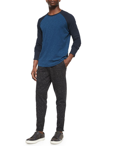 Slub-Knit Long-Sleeve Baseball Tee & Speckled Moto Sweatpants