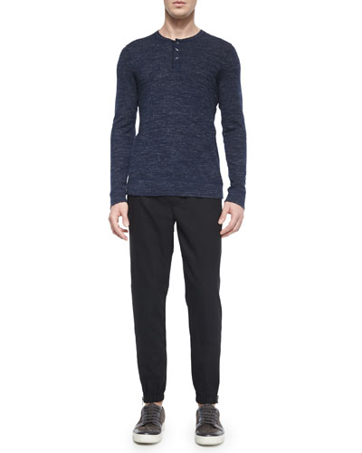 Wool-Blend Long-Sleeve Henley Tee & Traveler Wool Jogger Pants