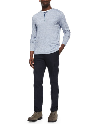 Long-Sleeve Jersey Henley Tee & Military-Style Cargo Dress Pants