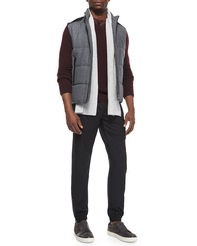 Quilted Vest with Leather Detail, Ribbed Cashmere Scarf, Wool-Blend Long-Sleeve Henley Tee & Traveler Wool Jogger Pants
