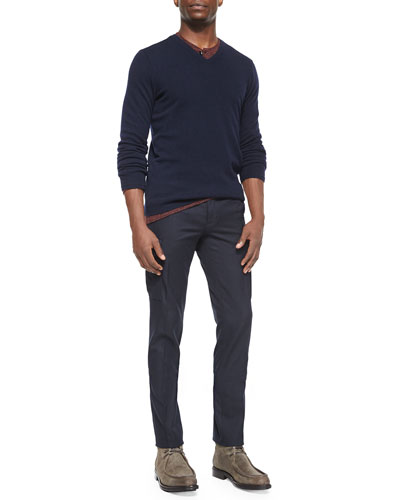 Cashmere V-Neck Sweater, Wool-Blend Long-Sleeve Henley Tee & Military-Style Cargo Dress Pants
