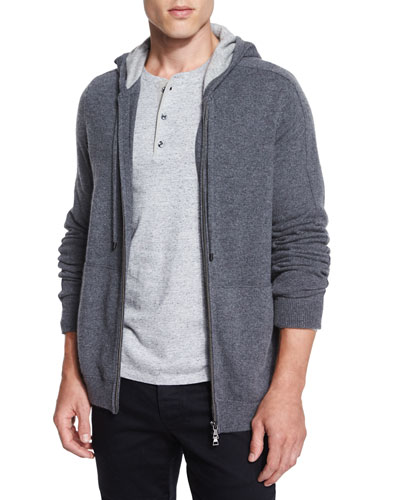 Cashmere Full-Zip Hoodie & Long-Sleeve Henley Shirt