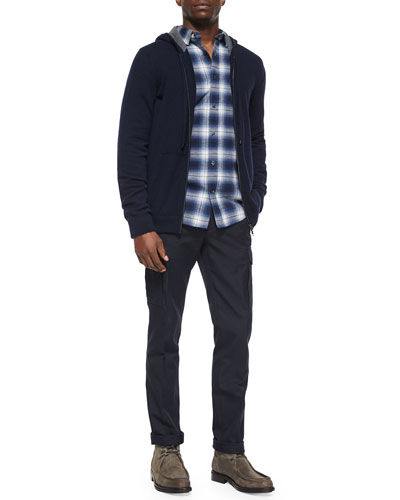 Cashmere Full-Zip Hoodie, Engineered Plaid Long-Sleeve Shirt & Military-Style Cargo Dress Pants