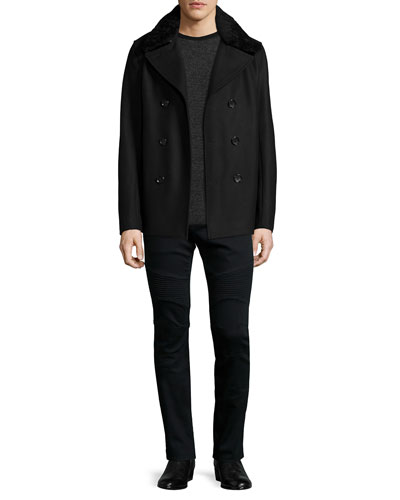 Mouton Cashmere-Blend Peacoat, Thermal-Stripe Cashmere Sweater & Stretch Resin-Coated Moto Jeans