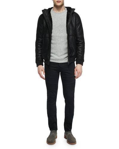 Hooded Shearling Fur Zip-Front Jacket, Thermal Cashmere Crewneck Sweater & Stretch Resin-Coated Moto Jeans