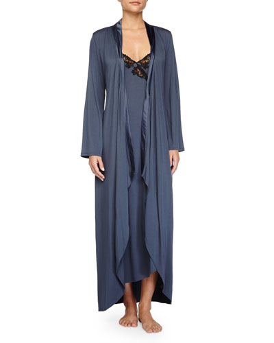 Primula Asymmetric Cutaway Long Robe & Lace-Trim Long Gown
