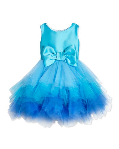 Tiered Tulle & Satin Dress, Aqua