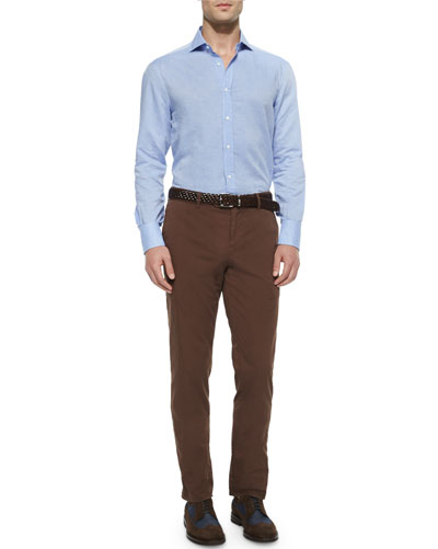 Solid Long-Sleeve Sport Shirt & Flat-Front Cotton Pants