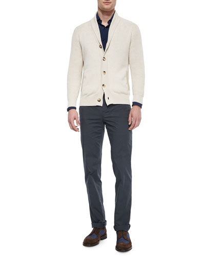 Shawl-Collar Chunky Cardigan, Slim-Fit Solid Poplin Sport Shirt & Flat-Front Cotton Pants
