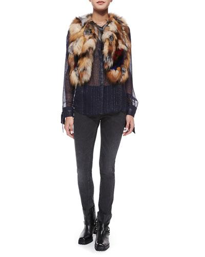 Fee Deluxe Patchwork Fur Vest, Chai Metal Sheer Top & Emma Bandes Skinny Pants