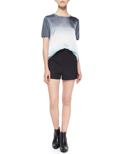 Theo Short-Sleeve Top & Deluxe Wool-Blend Shorts
