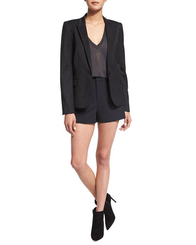 Victor Knit Deluxe Jacket, Wassa Short-Sleeve Burnout Top & Deluxe Wool-Blend Shorts