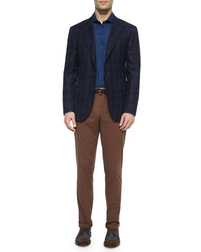 Madras Plaid Sport Jacket, Solid Long-Sleeve Sport Shirt & Flat-Front Cotton Pants