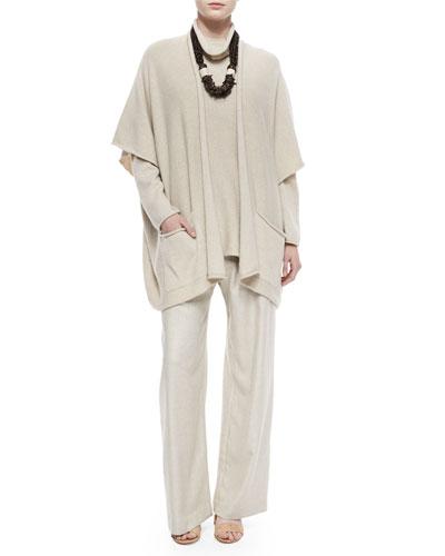 Knit Rolling-Front Long Tabard, Funnel-Neck Long Sweater, Cashmere-Blend Basketweave Trouser & Carved Coconut Beaded Necklace