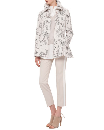 Abstract Floral-Print Drawstring Parka, Layered Sweater/Poplin Top & Franca Side-Striped Ankle Pants