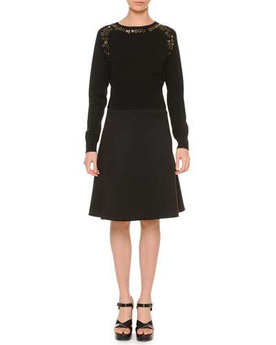 Cashmere Embellished Dolman-Sleeve Sweater & A-Line Bias-Seam Skirt