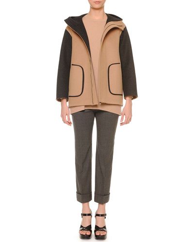 Two-Tone Hooded Parka, Felted Cashmere Knit Tunic Sweater & Cropped Flannel Pants
