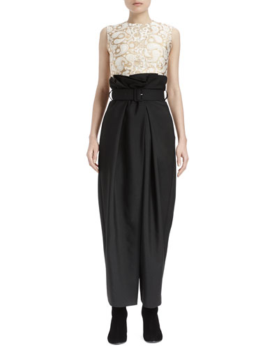 Paisley Brocade Sleeveless Top & Paperbag-Waist Wide-Leg Pants