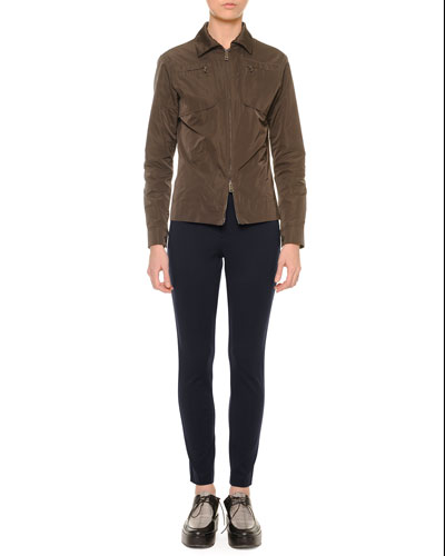 Two-Way Zip-Front Bomber Jacket & Zip-Front Skinny Leggings