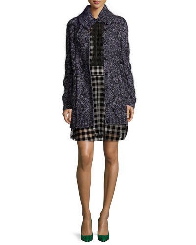 Chunky Wool-Blend Long Cardigan & Flocked Checkered Dress
