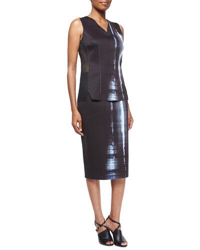 Clara Reversible Sleeveless Mesh-Side Top & Cammie Reversible Printed Pencil Skirt