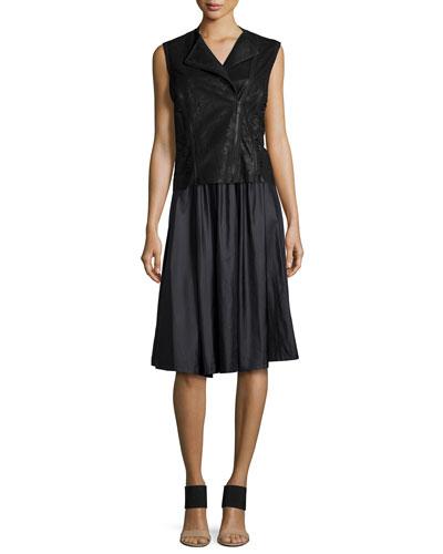 Victoria Leather Multi-Zip Vest & Jenna Pleated A-Line Skirt
