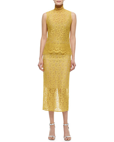 Sleeveless Allover Lace Blouse & Pencil Skirt, Yellow Pollen