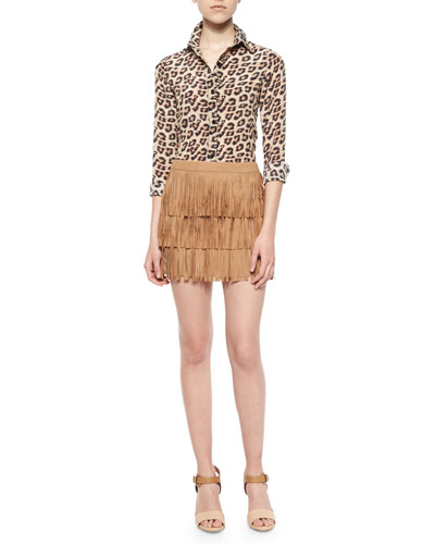 Leopard-Print Silk Top & Lavana Tiered Fringe Suede Skirt