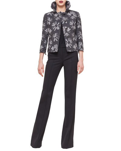 Abstract Floral Boxy Hidden Button Jacket, Elements Square-Neck Top & Boot-Cut Raised Seam Pants
