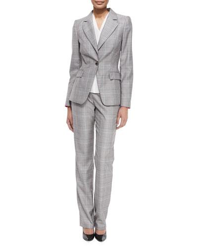 Glen-Check Business Blazer, V-Neck Cap-Sleeve Shell & Tovah Glen-Check Classic Trousers