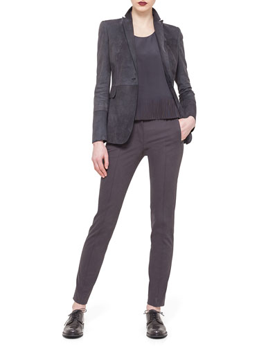 Suede One-Button Long Blazer, Fringe-Trimmed Charmeuse Tank Top & Fabia Zip-Pocket Ankle Pants