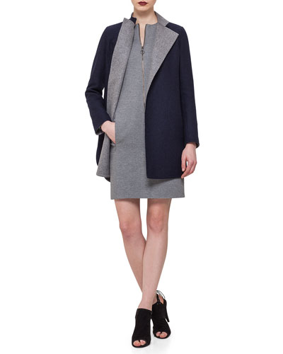 Reversible Wool-Blend Snap Coat & Front-Zip Sheath Dress