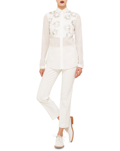 Long-Sleeve Embellished Shirt & Franca Cropped Knit Pants