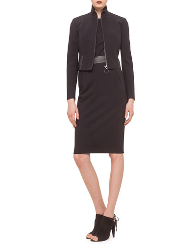 Cropped Jacket w/Faux-Leather Trim, Round-Neck Cutout-Shoulder Tank & High-Waist Midi Skirt