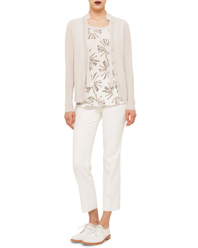 Long-Sleeve Hidden-Button Cardigan, Elements Abstract Floral-Print Top & Franca Cropped Knit Pants