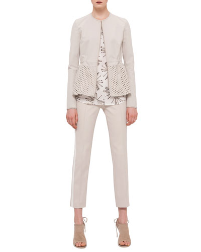 Eyelet Peplum Zip Jacket, Elements Abstract Floral-Print Top & Franca Side-Striped Ankle Pants