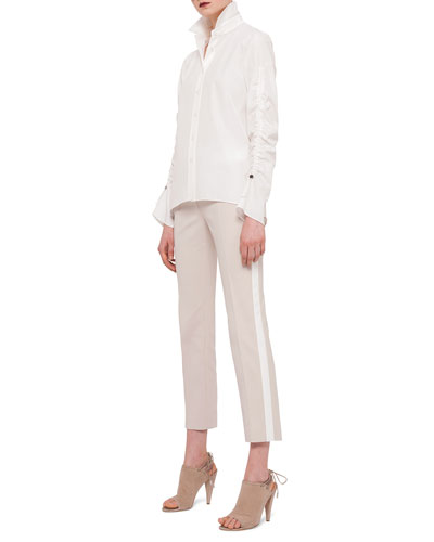 Ruched-Sleeve Button Blouse & Franca Side-Striped Ankle Pants